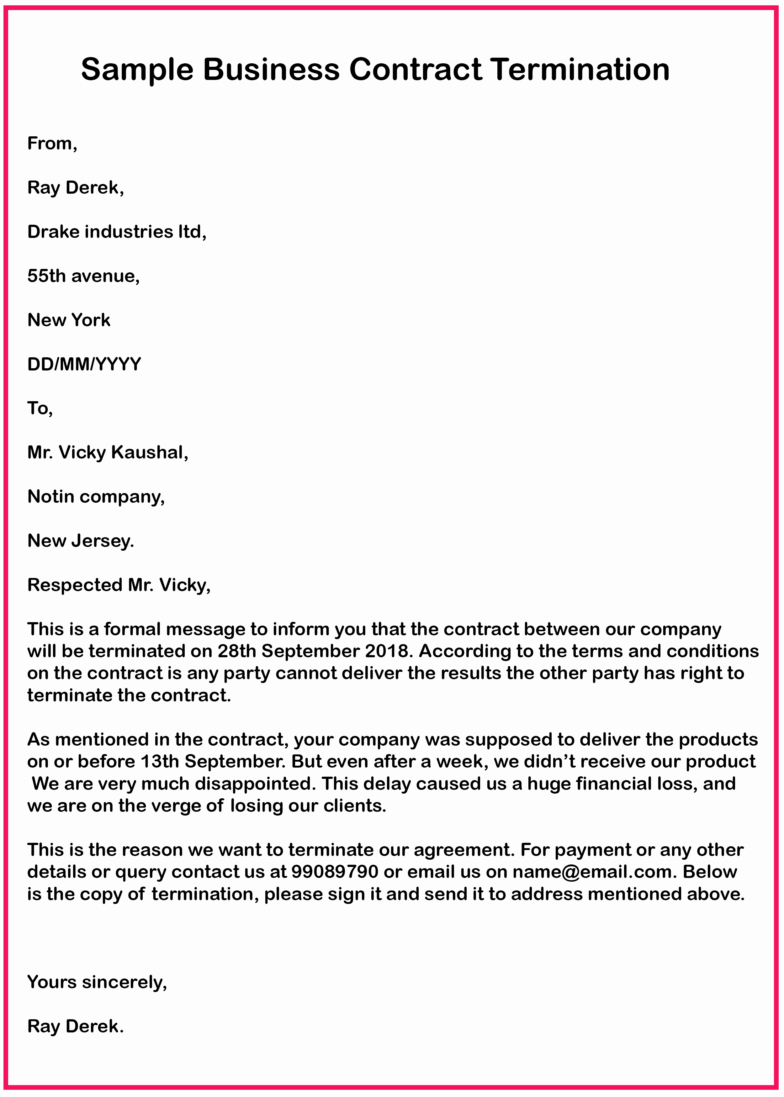 Letter to Terminate Business Relationship New 7 Business Contract Termination Letter Samples