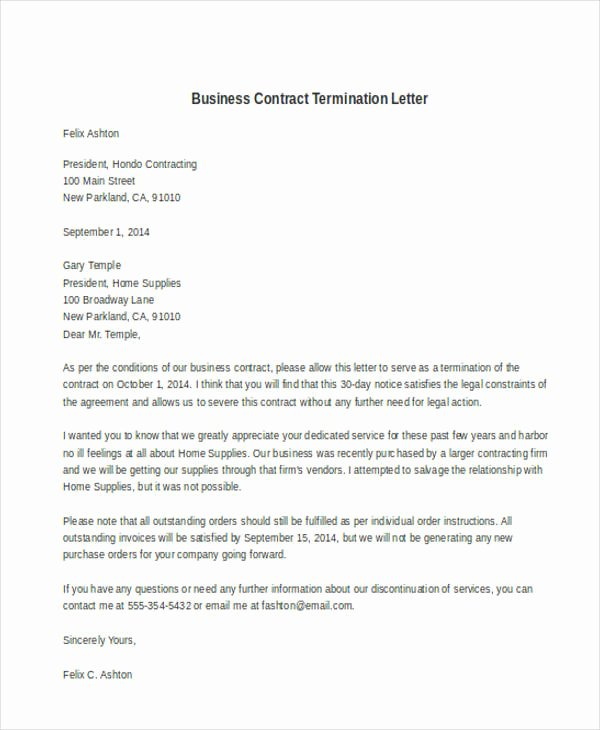 Letter to Terminate Business Relationship Unique 32 Termination Letter Examples Doc Pdf Ai
