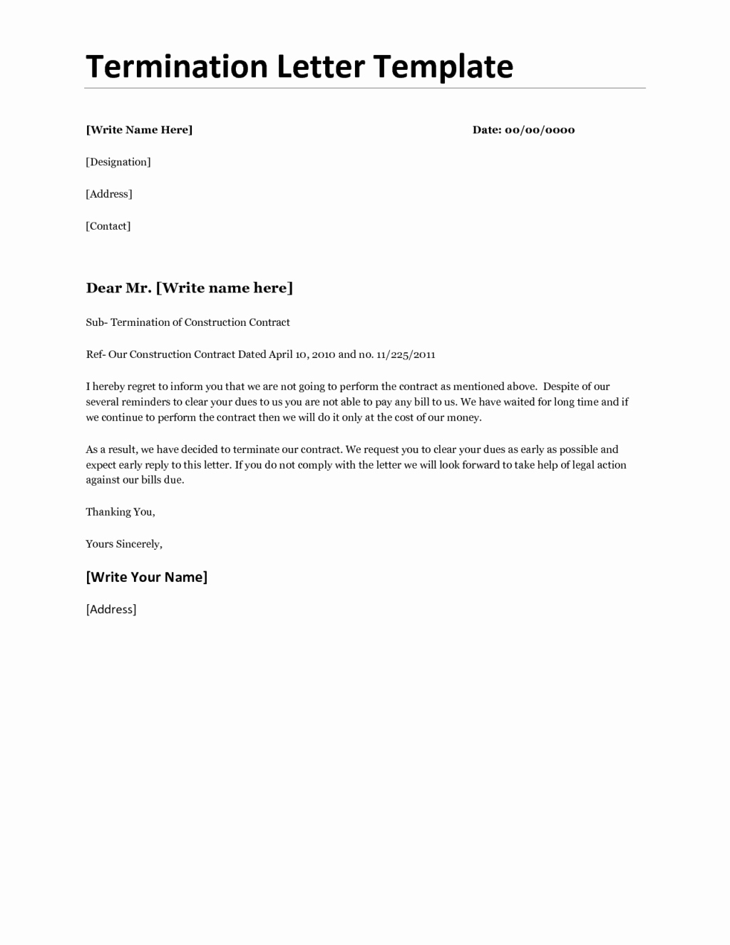 Letter to Terminate Business Relationship Unique Business Contract Termination Letter for Non Renewal
