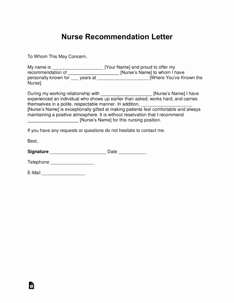Letters Of Recommendation for Nurses Beautiful Free Registered Nurse Rn Letter Of Re Mendation Template with Samples Pdf