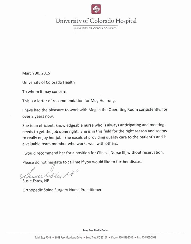 Letters Of Recommendations for Nurses Best Of Letter Of Re Mendation Nursing Professional Megan