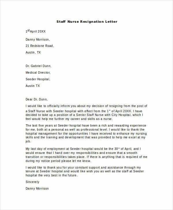 Letters Of Resignation Nursing Best Of Free 13 Nurse Resignation Letter Samples and Templates In Pdf