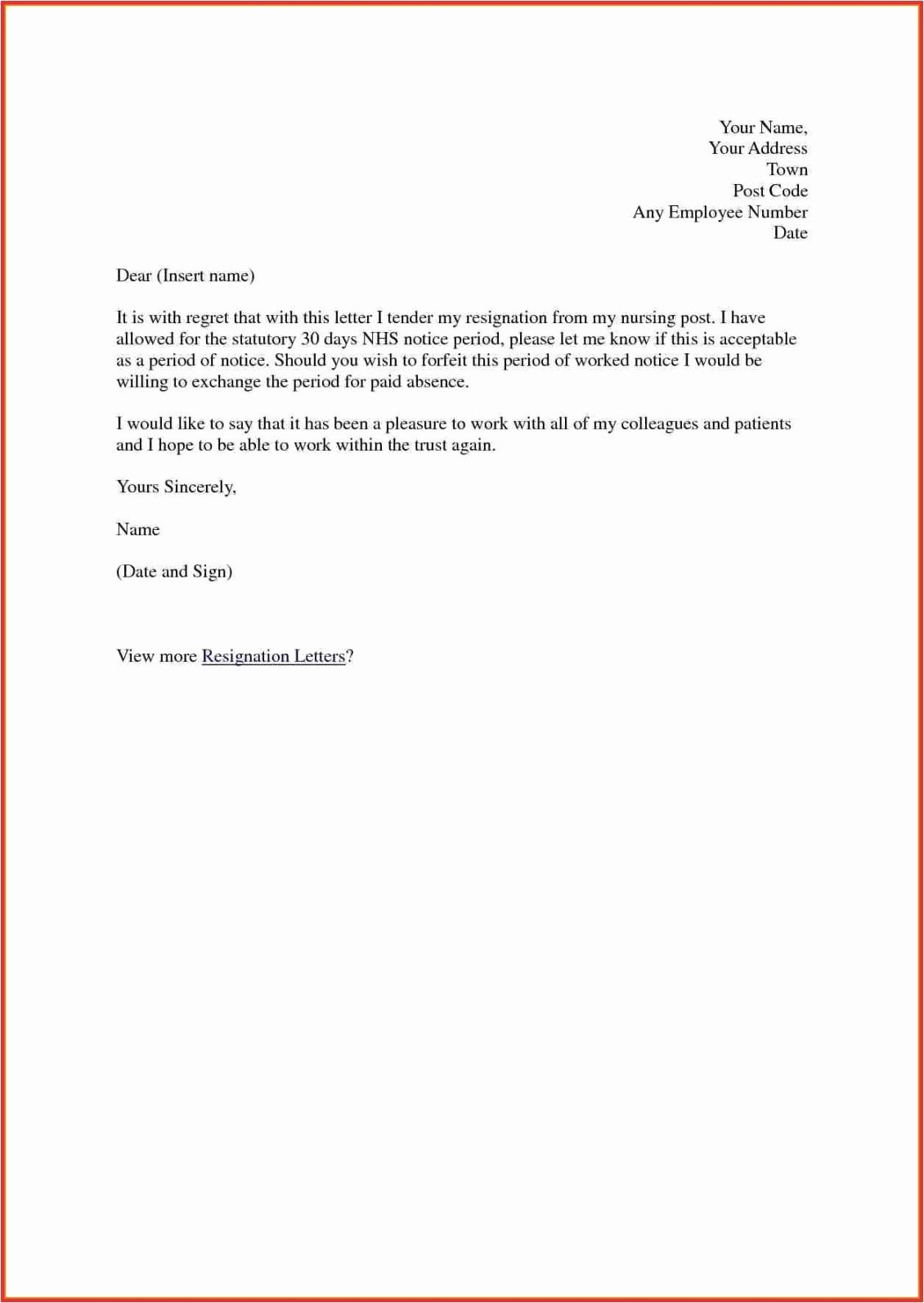 Letters Of Resignation Nursing Luxury Nursing Resignation Letter Template