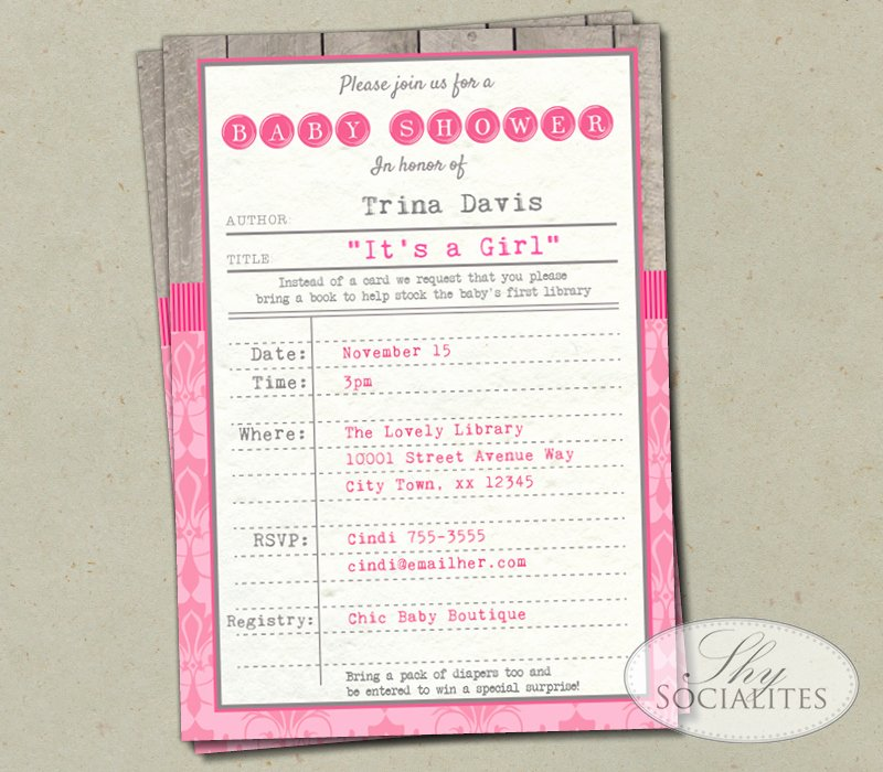 Library Card Invitation Template Awesome Shabby Chic Pink Library Card Invitation — Shy socialites