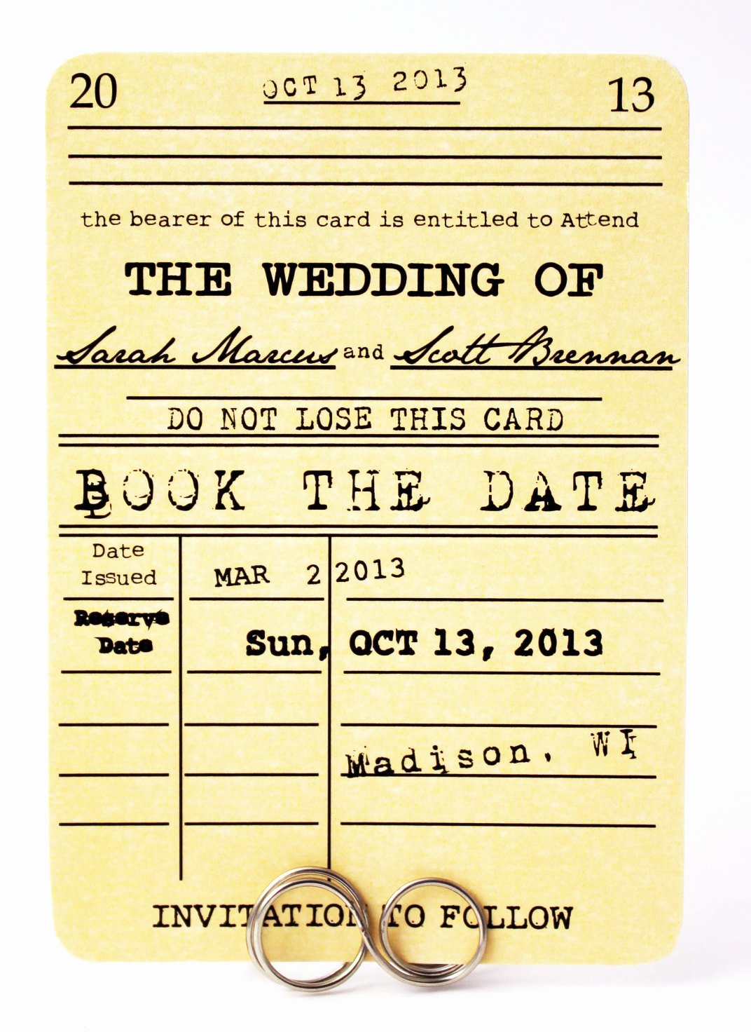 Library Card Invitation Template Beautiful Save the Date Card Book the Date Library Card Wedding