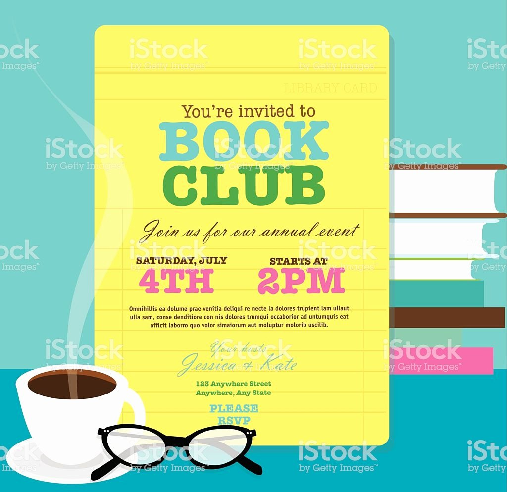 Library Card Invitation Template Elegant Book Club event Invitation Design Template Feauring Library Card Stock Vector Art & More