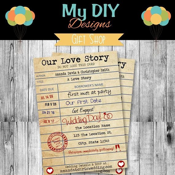 Library Card Invitation Template Inspirational 18 Best Diy Wedding Invitation Templates Images On Pinterest