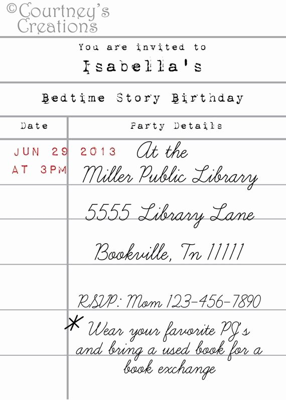 Library Card Invitations Template Best Of 5x7 Printable Library Card Style Book themed Birthday