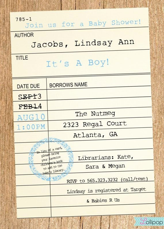Library Card Invitations Template Elegant Printable Library Card Baby Shower Invitation these Would Look Great Printed On Our Eco