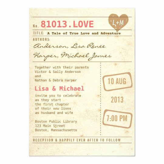 Library Card Invitations Template Inspirational Vintage Library Card Wedding Invitation