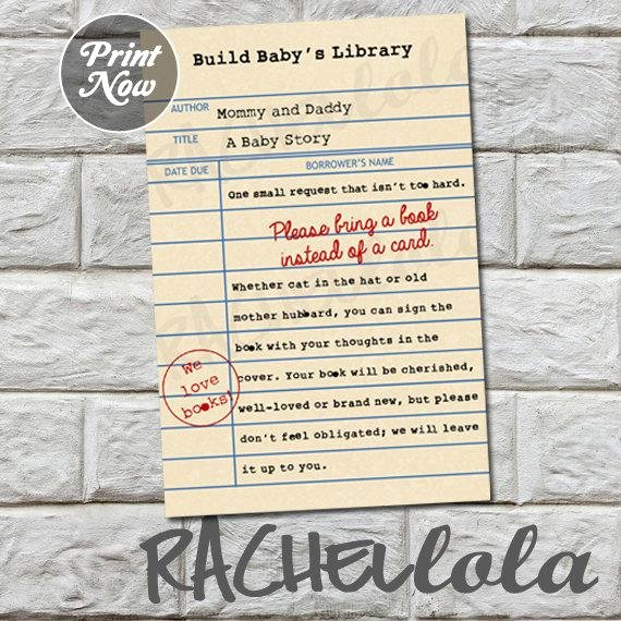 Library Card Invitations Template Lovely Library Card Bring A Book Instead Of A Card Baby Shower Invitation Insert Printable Template