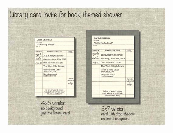 Library Card Invitations Template Luxury Library Card Invite for Book themed Shower Library Card Retirement Birthday Book Club