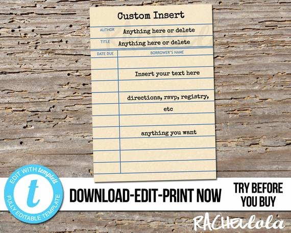 Library Card Invitations Template New Editable Custom Invitation Insert Library Card Printable
