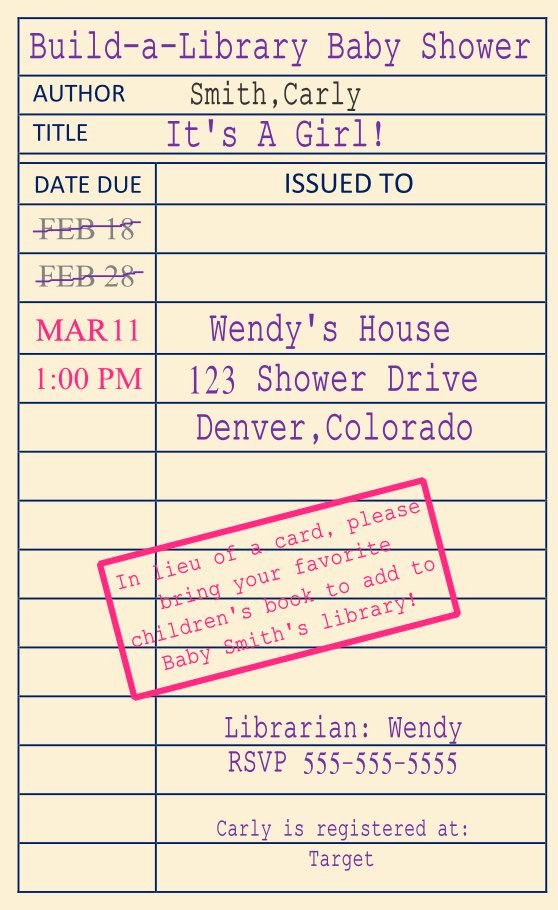 Library Card Invitations Template Unique 1000 Images About Book theme Baby Shower On Pinterest