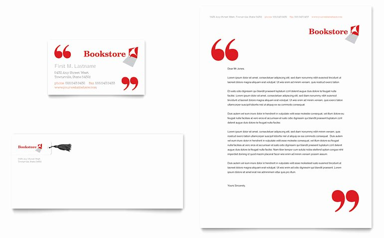 Bookstore Library Business Card Letterhead Templates GB D