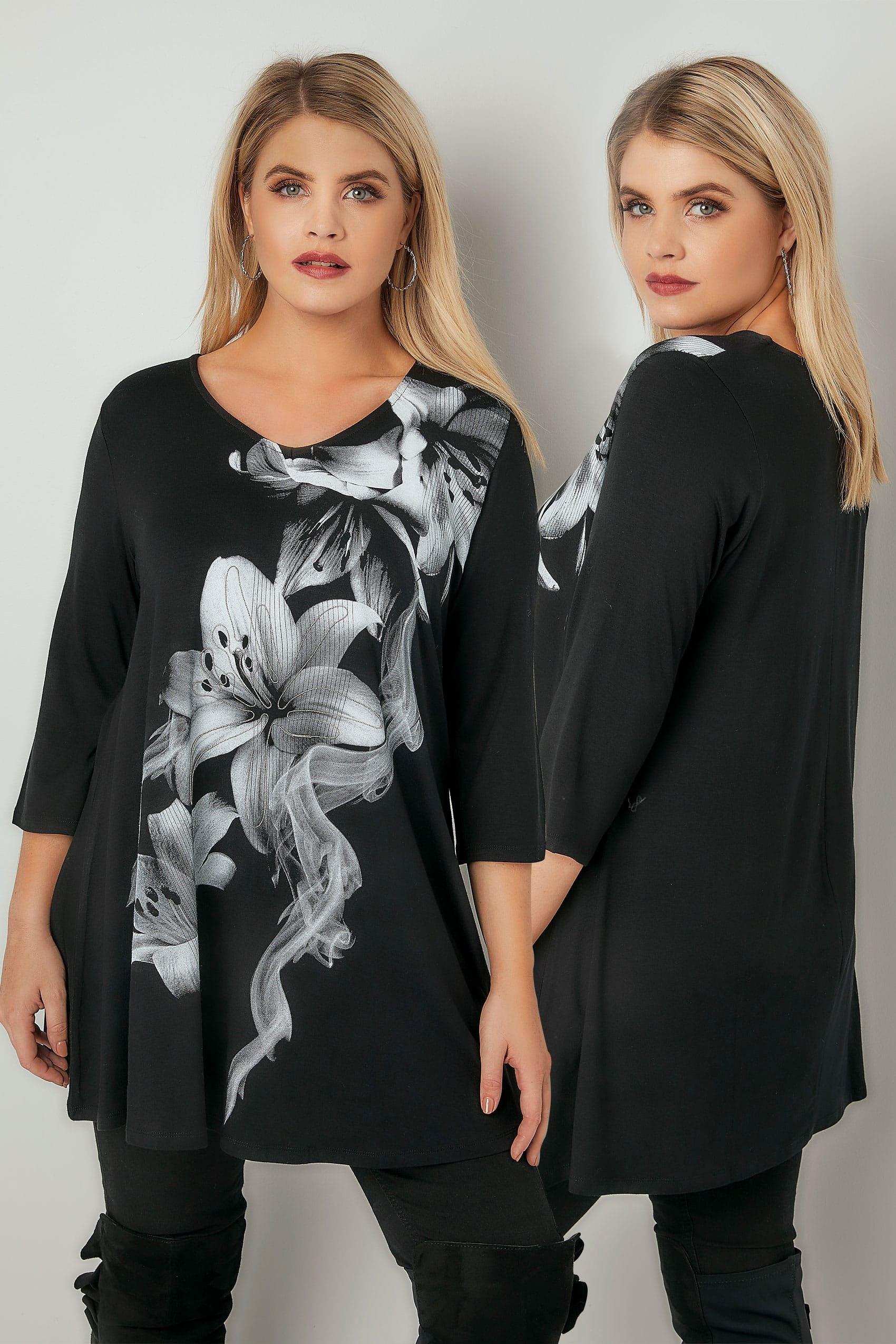 Like Us On Facebook Template Beautiful Zwart Longline Shirt Met Bloemenprint En Kralenversiering Maten 44 64