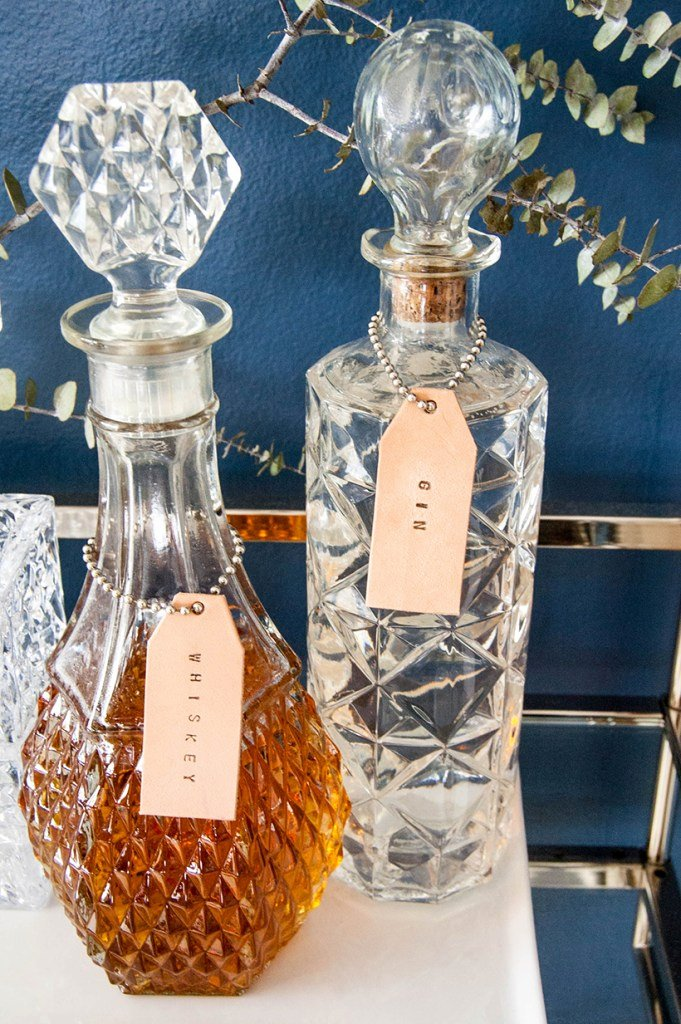 diy leather liquor bottle labels
