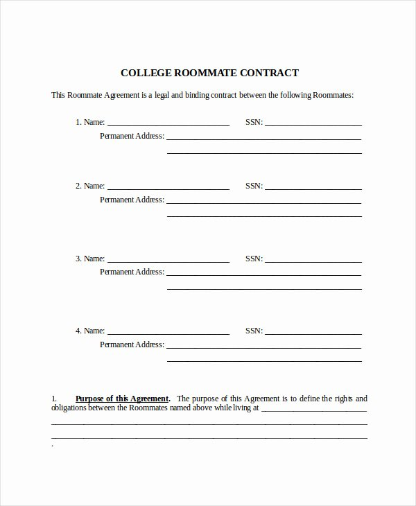 roommate contract templates
