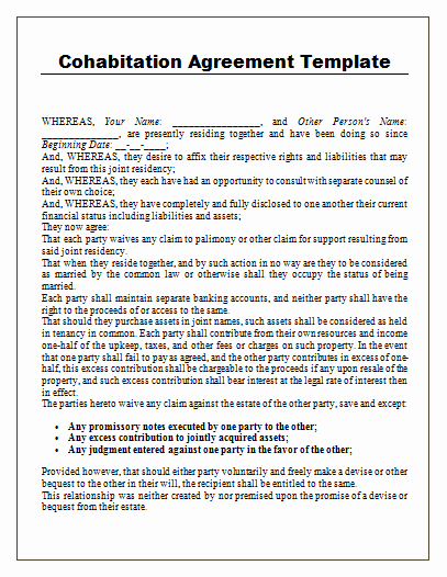 Living Agreement Contract Template Best Of Cohabitation Agreement Template