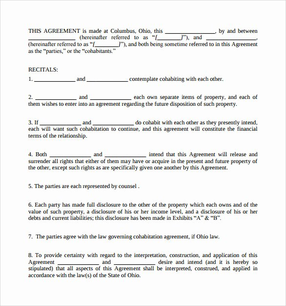 Living Agreement Contract Template Best Of Sample Cohabitation Agreement 7 Documents In Pdf Word