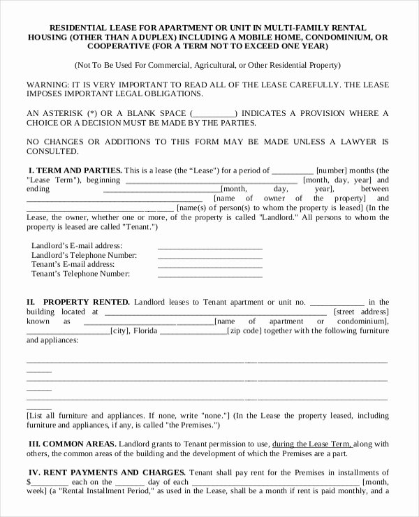 Living Agreement Contract Template Fresh Apartment Rental Contract Sample – Cnbam