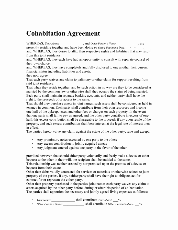 Living Agreement Contract Template Fresh Cohabitation Agreement Free Documents for Pdf
