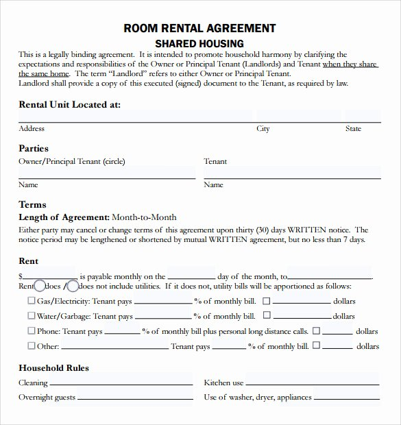 Living Agreement Contract Template Fresh Sample Rental Agreement Template 8 Free Documents