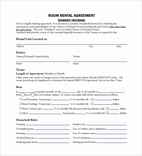Living Agreement Contract Template Fresh Sample Room Lease Agreement 10 Free Documents Download