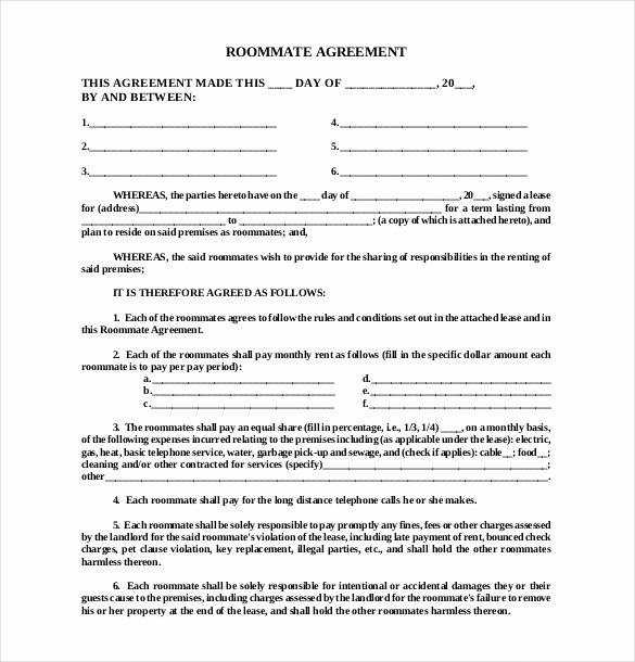 Living Agreement Contract Template Inspirational Roommate Agreement Template – 12 Free Word Pdf Document