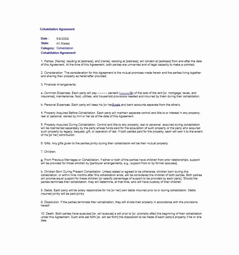 Living Agreement Contract Template New Cohabitation Agreement 30 Free Templates & forms