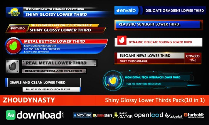 Lower Third after Effects Lovely Shiny Glossy Lower Thirds Pack Free Download Videohive