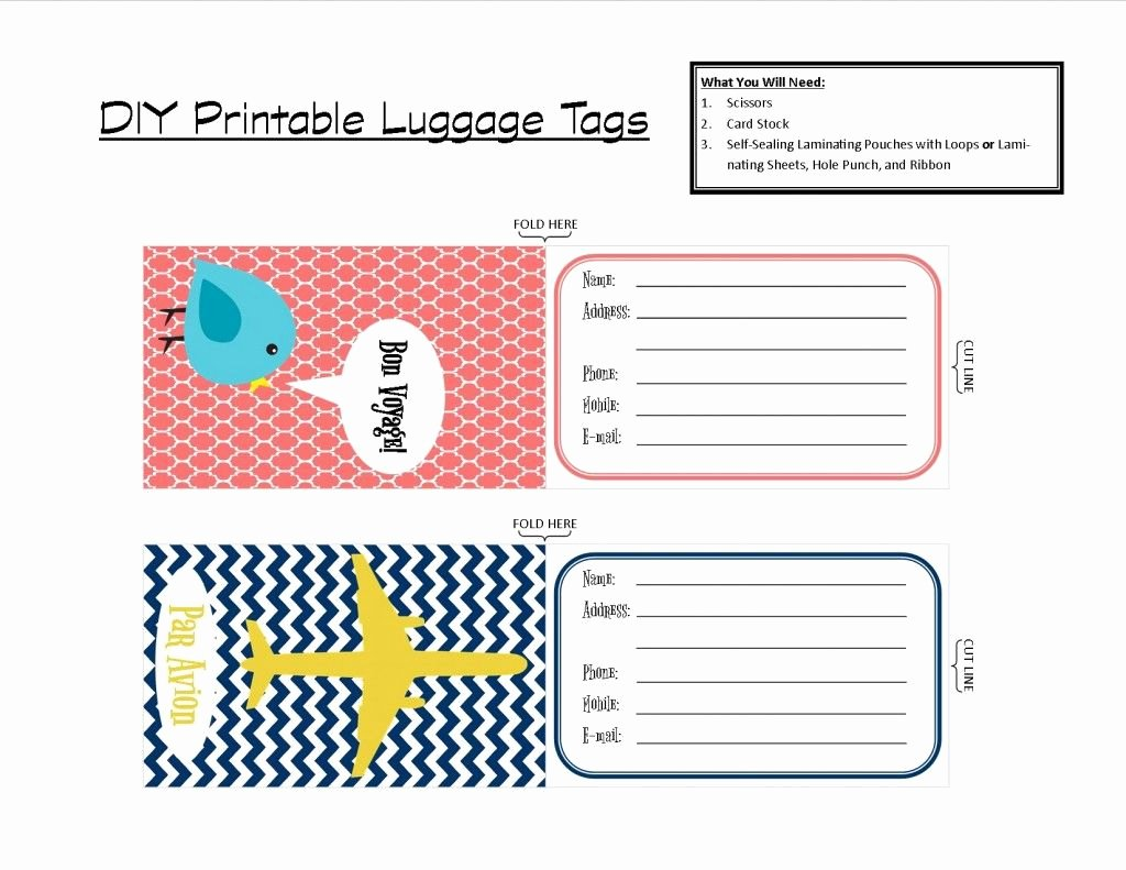 Luggage Name Tag Template Inspirational Printable Tags