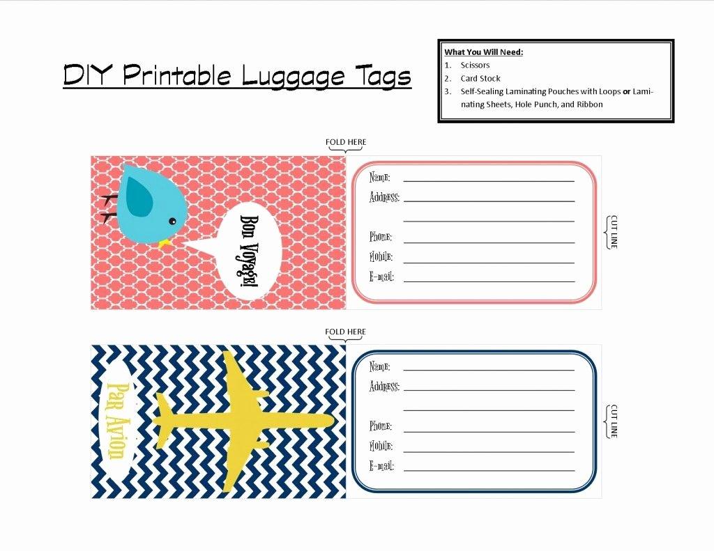 Luggage Name Tag Template Inspirational Printable Tags