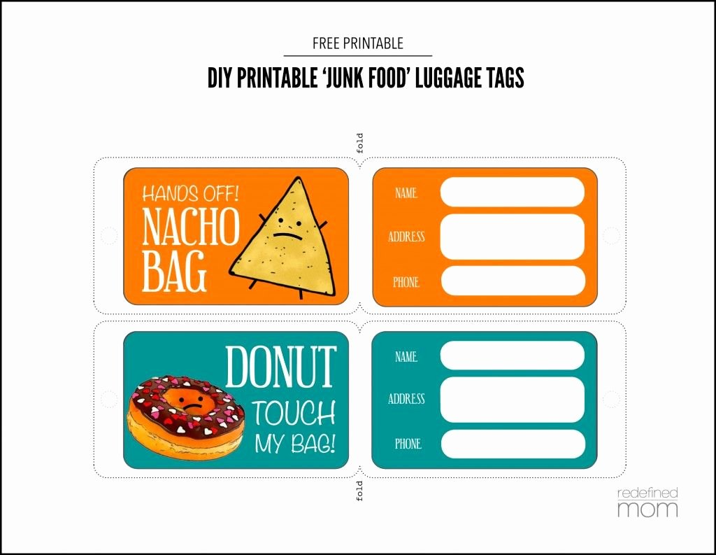 Luggage Tag Insert Template Awesome Diy Printable Junk Food Luggage Tags Printable