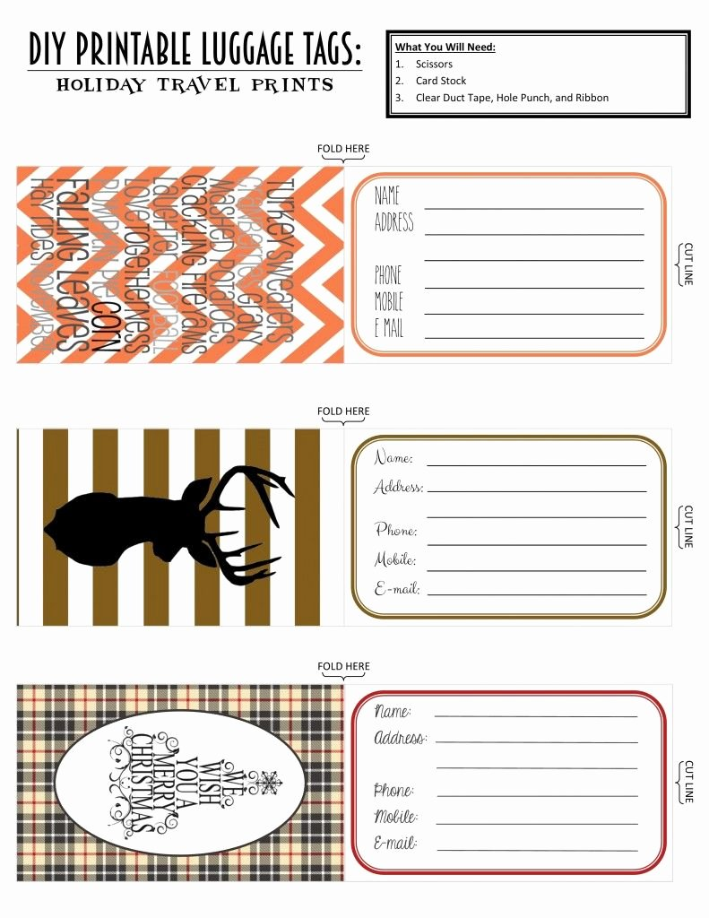 Luggage Tag Insert Template Luxury Printable Luggage Tags Holiday Travel Edition Projects to Try