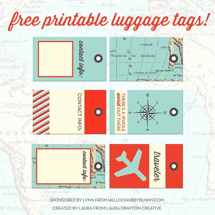 Luggage Tag Insert Template New Free Printable Designer Luggage Tags and Your Chance to Win One Out Of 10 Styl