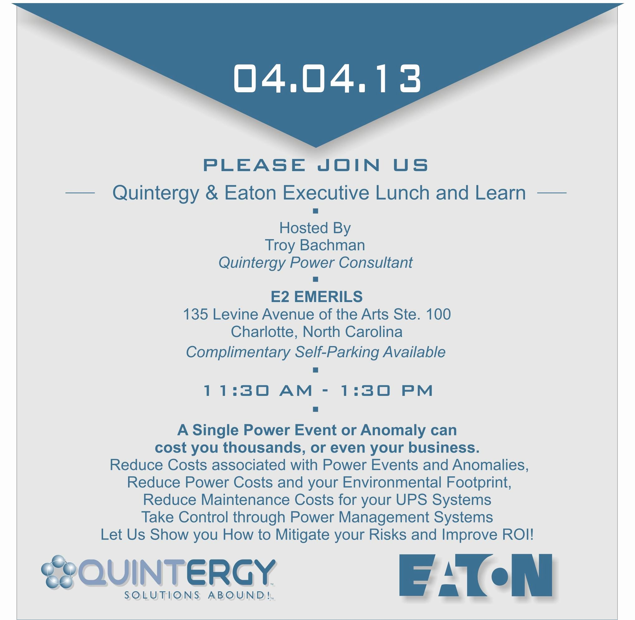 Lunch and Learn Invites Elegant Quintergy & Eaton Executive Lunch and Learn Charlotte Nc Tickets Thu Apr 4 2013 at 11 30 Am