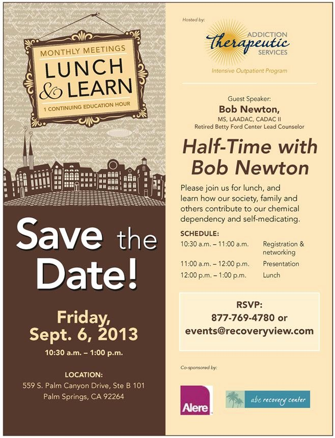 Lunch and Learn Invites New Sept 6 Lunch and Learn at Addiction therapeutic Services Invitations