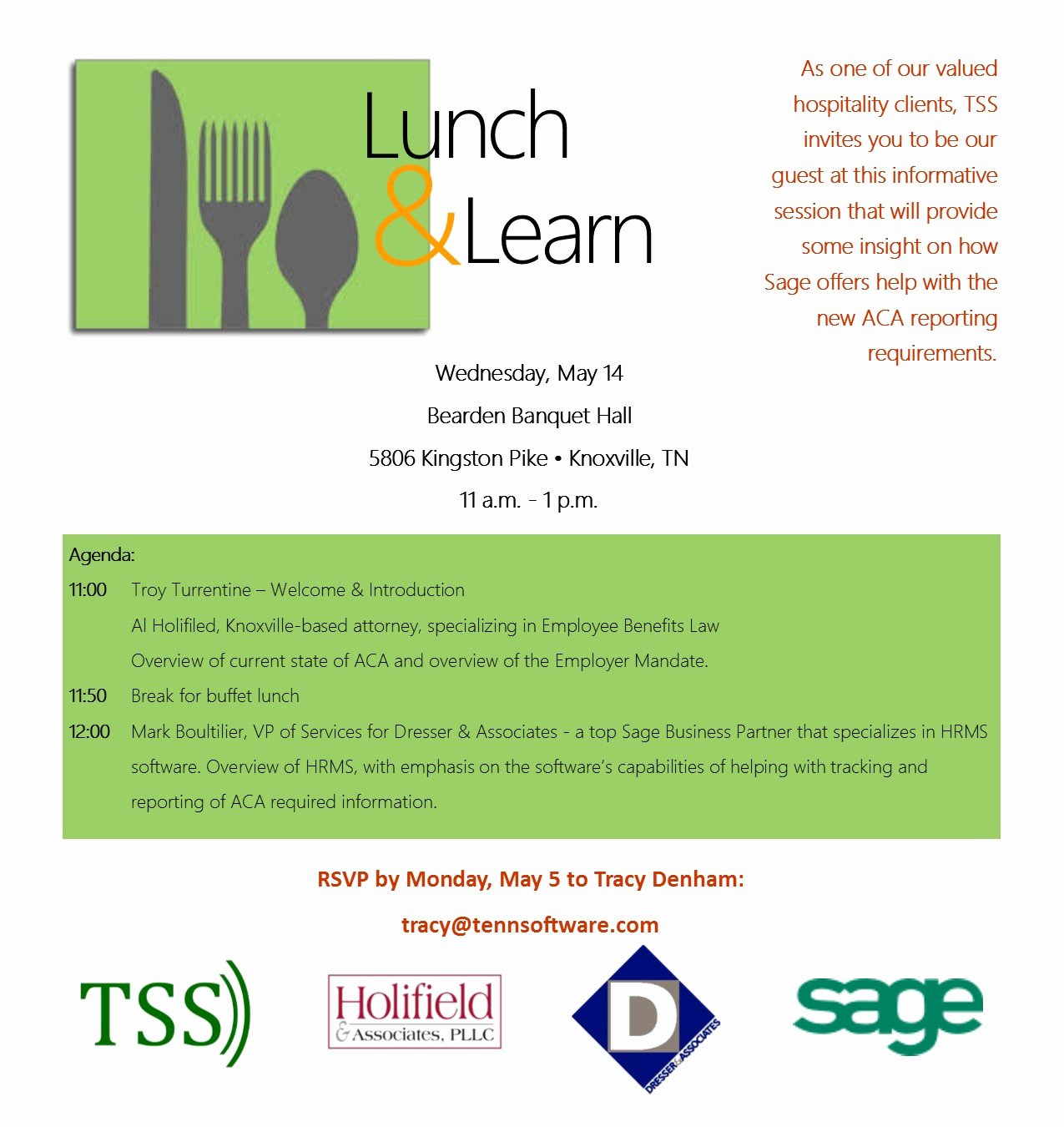 Lunch and Learn Invites Unique Hospitality Industry Lunch & Learn Aca Reporting – Tss