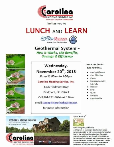 Lunch and Learn Invites Unique News – Invitation to Lunch and Learn 11 2013 – Geothermal Systems