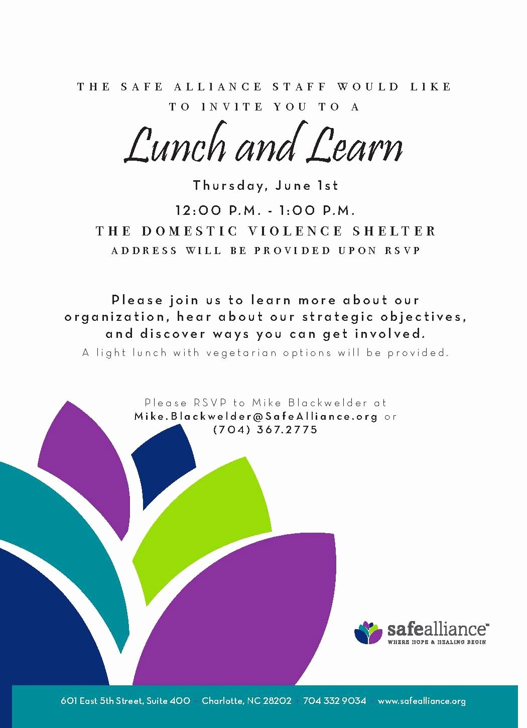 Lunch and Learn Invites Unique Safe Alliance Newsletter