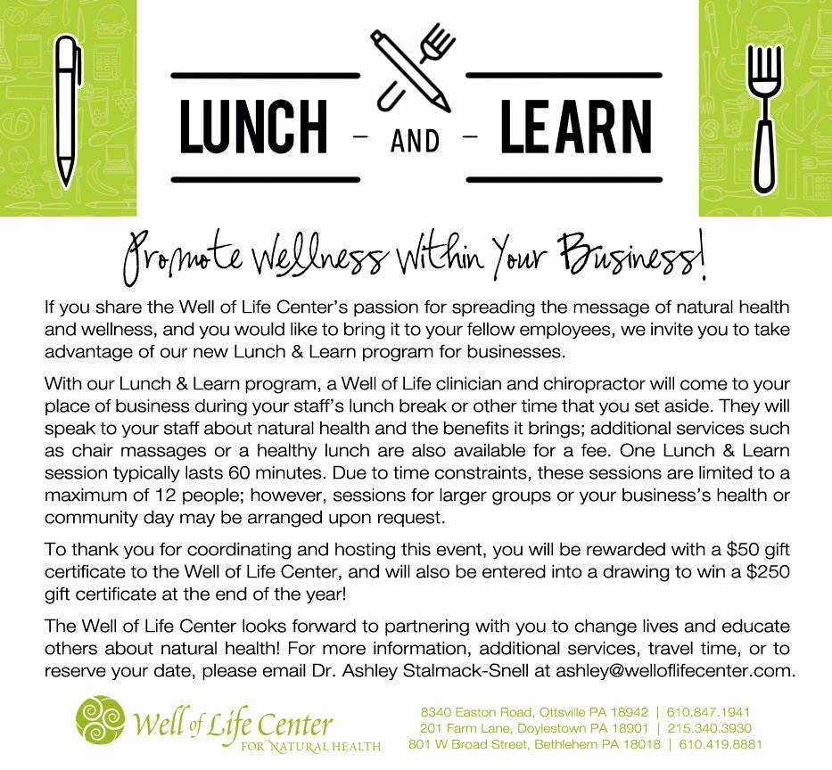 Lunch and Learn Invites Unique Try Our New Lunch & Learn Program Well Of Life Center