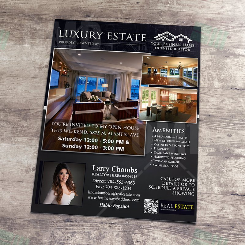 Luxury Real Estate Brochures Elegant Luxury Real Estate Flyer – Instant Download – Real Estate Lead Generator