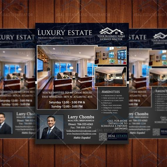 Luxury Real Estate Flyers Elegant Instant Download Luxury Real Estate Flyer by Affordablepsddesigns