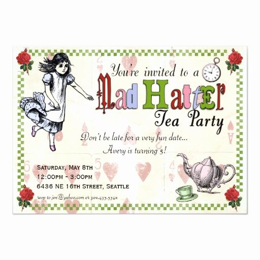 Mad Hatter Tea Party Invites Awesome Mad Hatter Tea Party Invitation