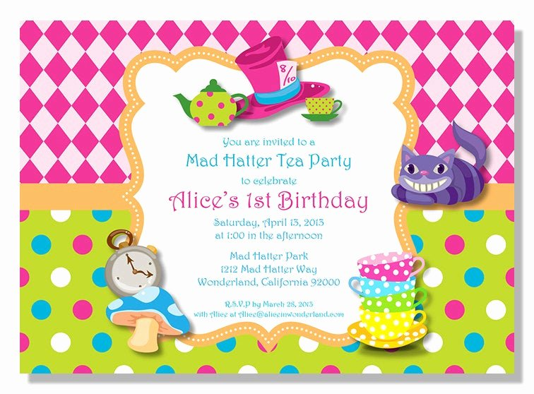 Mad Hatter Tea Party Invites Beautiful Alice In Wonderland Mad Hatter Tea Party Invitations