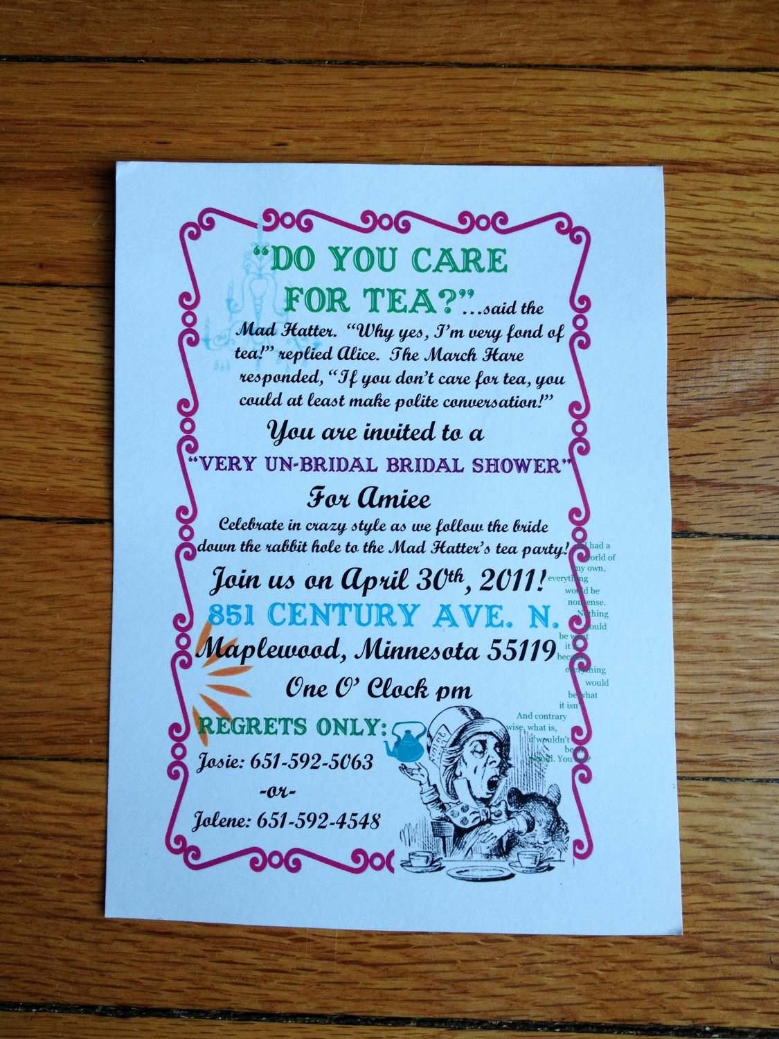 Mad Hatter Tea Party Invites Beautiful Mad Hatter Tea Party Wedding Shower Invitation for by Studiojaja