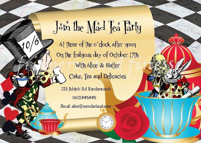 Mad Hatter Tea Party Invites Best Of Mad Hatter Tea Party Invite Invitation by Fripperyandfinesse
