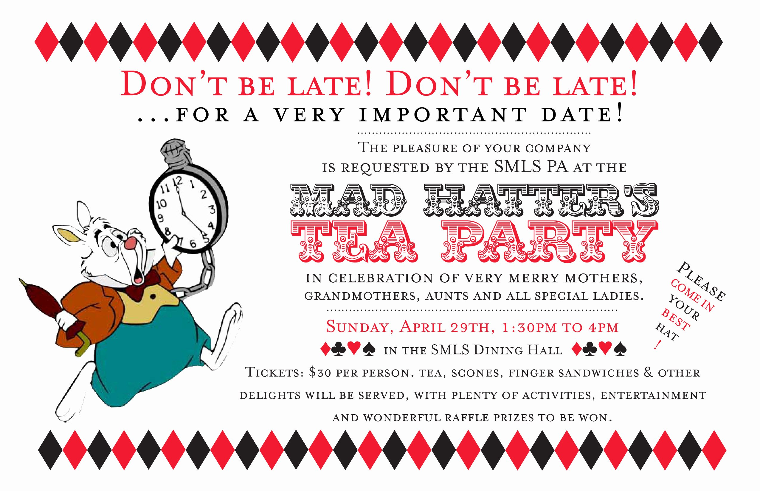 Mad Hatter Tea Party Invites Elegant Alice's Adventures In Typography