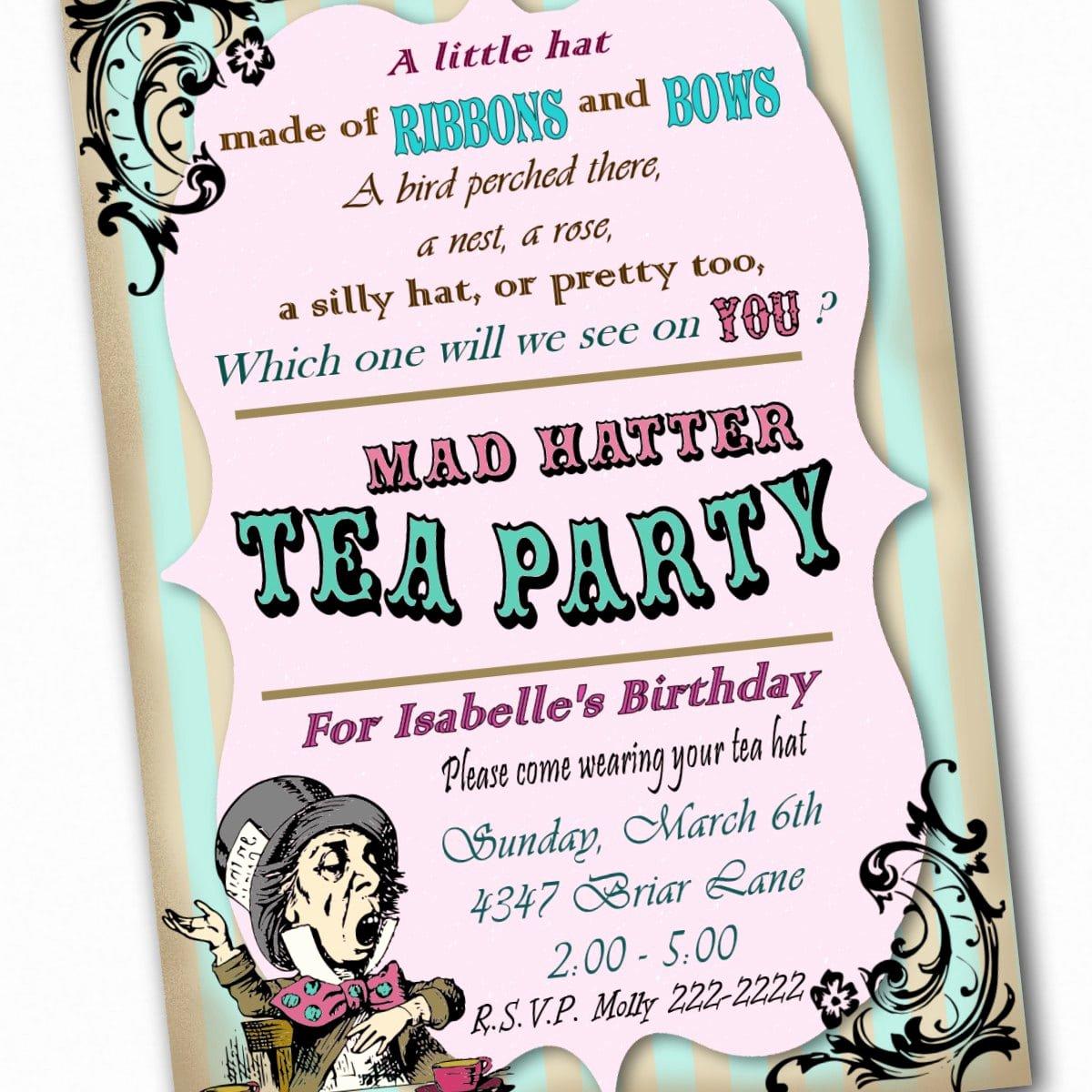 Mad Hatter Tea Party Invites Elegant Free Mad Hatter Template Invitation